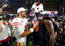 49ers' Jimmy Garoppolo awkwardly flirts with Erin Andrews post-game: 'It feels great, baby'
