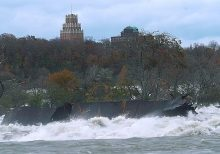 Historic iron scow moves for first time in 101 years, closer to Niagara Falls ledge
