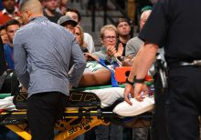 Boston Celtics Kemba Walker carried off court on stretcher after scary head-on collision with teammate