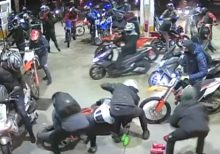 Men on motorbikes armed with knives and sword overrun and rob English gas station