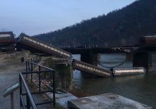 Freight train cars derail into the Potomac River near Harpers Ferry in West Virginia