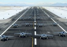 Elephant Walk at Utah Air Force Base showcases 52 F-35s launching in a row