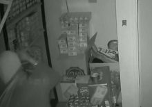 California burglary suspect caught on camera falling through ceiling of tobacco shop