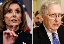Pelosi does impression of 'grim reaper' Mitch McConnell just as impeachment trial kicks off