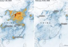Over China, coronavirus coincides with plummet in nitrogen dioxide