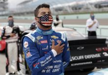Noose found hanging in Bubba Wallace's garage stall at Talladega, NASCAR says